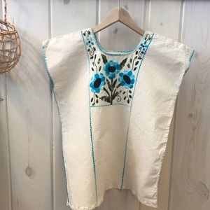 Vintage Embroidered Mexican Style Blouse